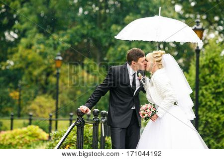 Just Married Couple Kisses Under An Umbrella Standing On The Bridge In Park