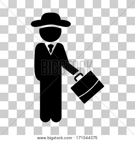 Gentleman Manager icon. Vector illustration style is flat iconic symbol black color transparent background. Designed for web and software interfaces.