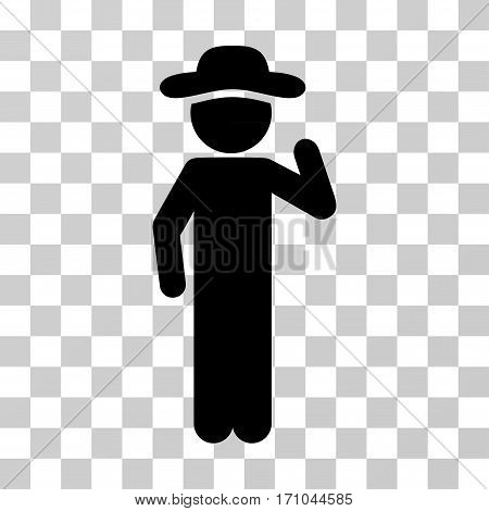 Gentleman Opinion icon. Vector illustration style is flat iconic symbol black color transparent background. Designed for web and software interfaces.