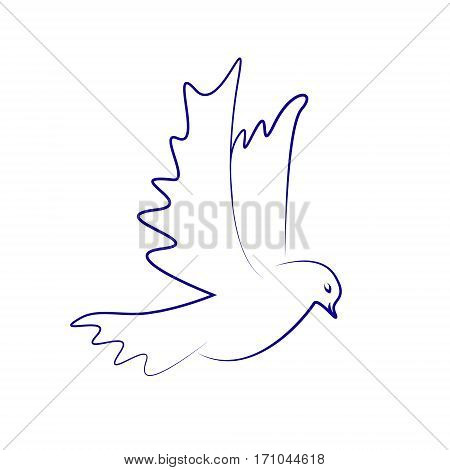 Vector illistration of dove icon. Flying dove.