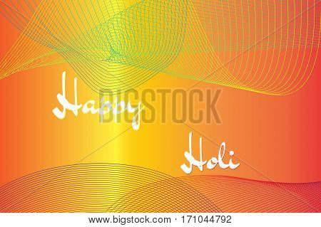 Happy Holi spring festival of colors greeting vector background with colorful lines.