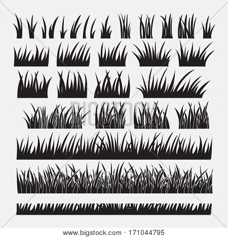 Stock Vector Illustration Set of Silhouette of Grass Isolated on White Background.