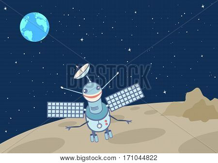 Artificial satellite-droid on the moon. A view of Earth from The Moon on the background of a starry sky. Vector illustration.