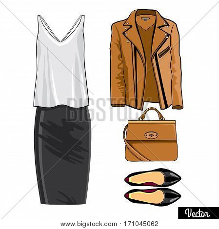 Illustration stylish and trendy clothing.Leather jacket, leather narrowed skirt, shoes.  Silhouette made in modern flat vector style. Fashion vector Illustration
