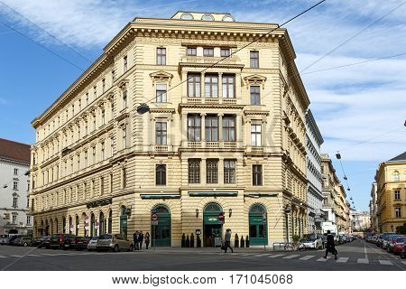 VIENNA/ AUSTRIA - FEBRUARY 22. An old house in the city center at the intersection of Schwarzenbergstrasse and Schellinggasse on February 22, 2016 in Vienna, Austria.
