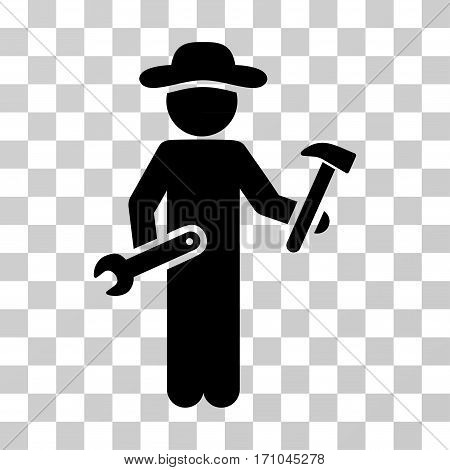 Gentleman Serviceman icon. Vector illustration style is flat iconic symbol black color transparent background. Designed for web and software interfaces.