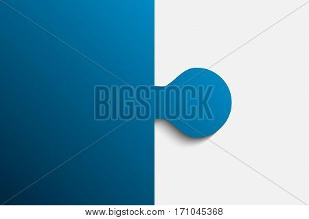 Blue Piece Flat Puzzle Round Infographic Presentation. 2 Step Business Diagram. Two Section Compare Service Banner. Vector Illustration Template Shape . Abstract Background.