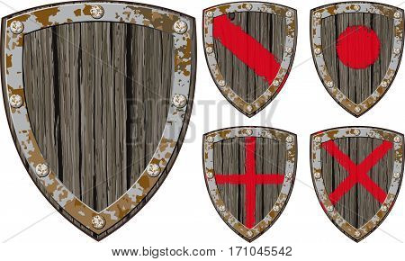Old cracked wooden shield Viking warrior or another in a variety of color options, as well as empty