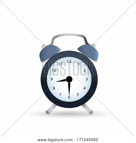 Classic dark alarm clock over white background with shaddow