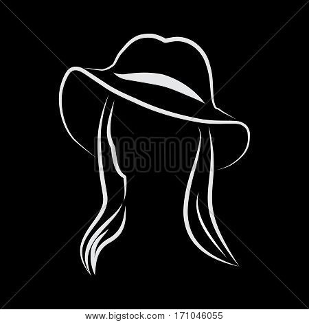 Vector sign Woman with hat in balck