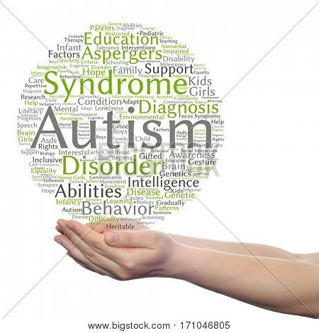 Concept or conceptual childhood autism syndrome symtoms or disorder abstract word cloud held in hands isolated on background