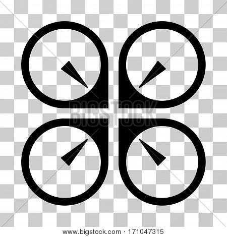 Hover Drone icon. Vector illustration style is flat iconic symbol black color transparent background. Designed for web and software interfaces.