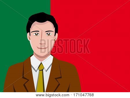 Portuguese people front of the flag, language man