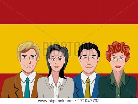 Spanish people front of the flag, language team