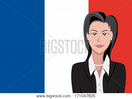 French people front of the flag, language woman