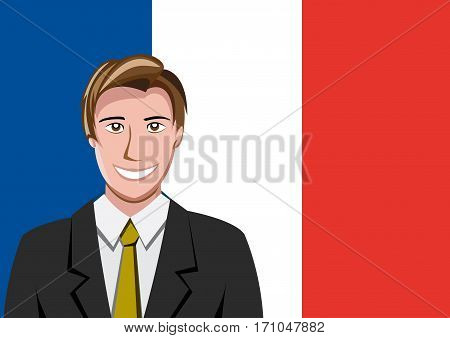 French people front of the flag, language man