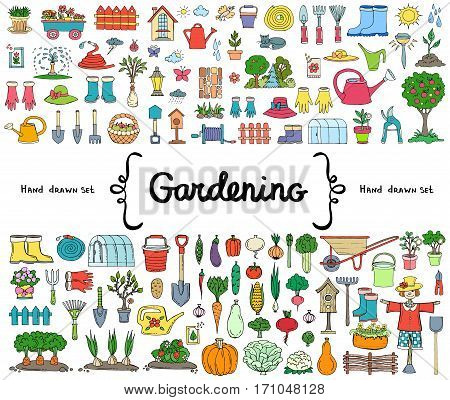 Vector set with hand drawn isolated colored doodles on the theme of garden garden tools agriculture harvest. Symbols of gardening. Sketches for use in design