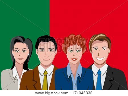 Portuguese people front of the flag, language team