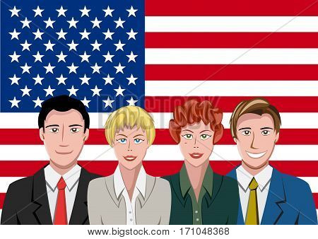 American people front of the flag, language team