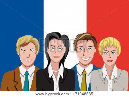 French people front of the flag, language team
