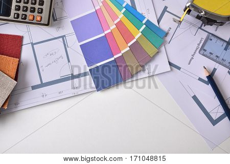 Decorator Workbench Background With Plan And Tools Top View