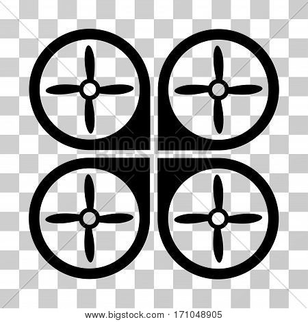 Nanocopter icon. Vector illustration style is flat iconic symbol black color transparent background. Designed for web and software interfaces.