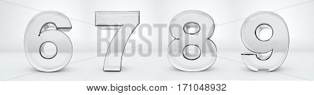 Transparent glass numbers 3d rendering - 6, 7, 8, 9