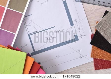 Designer Workbench Detail With Home Plan On Wooden Table Top