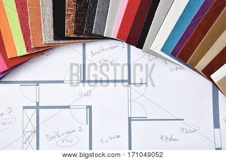 Materials And Colors For Interior Decoration On Plan Top