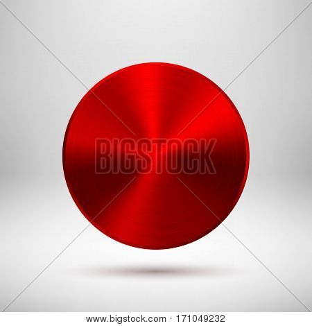 Red metal circle badge, blank button template with metallic texture, chrome, silver, steel and realistic shadow and light background for logo, design concepts, web, apps. Vector illustration.