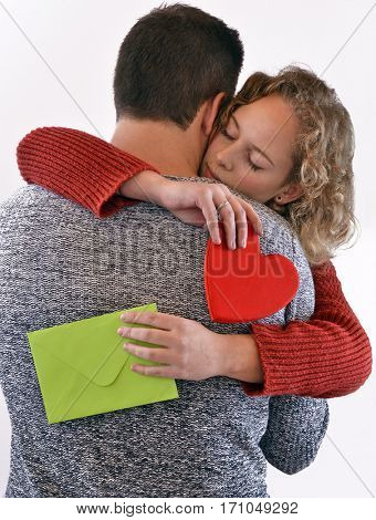 lovers day hug holding envelope and heart