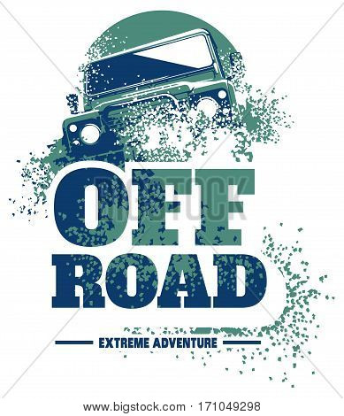 Off-road car logo, safari suv, expedition offroader. Vector illustration for sticker, poster, emblem or badge