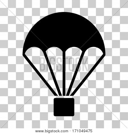 Parachute icon. Vector illustration style is flat iconic symbol black color transparent background. Designed for web and software interfaces.