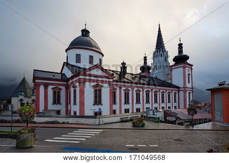 MARIAZELL/ AUSTRIA - OCTOBER 7. Shrine of Our Lady in city Mariazell (Mariazell Basilica) in Austria on October 7, 2016. It is the most important pilgrimage destination in Austria for catholics.