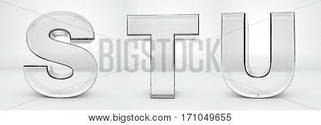 Transparent glass letters 3d rendering - alphabet - S, T, U
