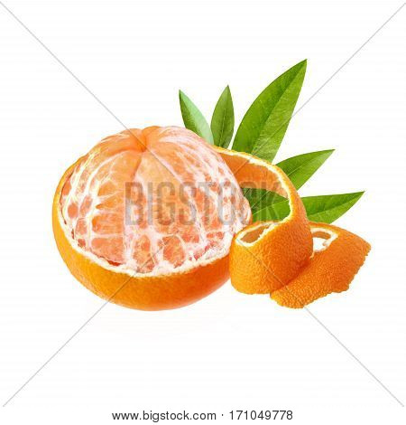 One peeled ripe and juicy mandarin. Mandarin with green leaves with a beautiful skin. Mandarin isolated on white background.