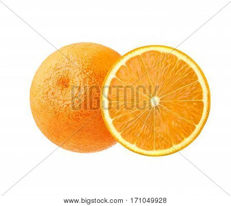One ripe juicy orange and its half isolated on white background. Beautiful citrus, southern fruit to set the mood