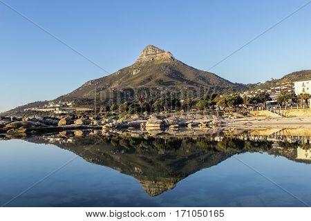 Reflection in the water of Lion's Head Mountain in Cape Town South Africa