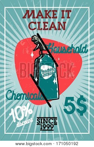 Color vintage household chemicals banner. Flat design concepts for web banners, web sites, printed materials. Creative vector illustration