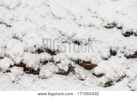 snow patterns in the rattan chair for background