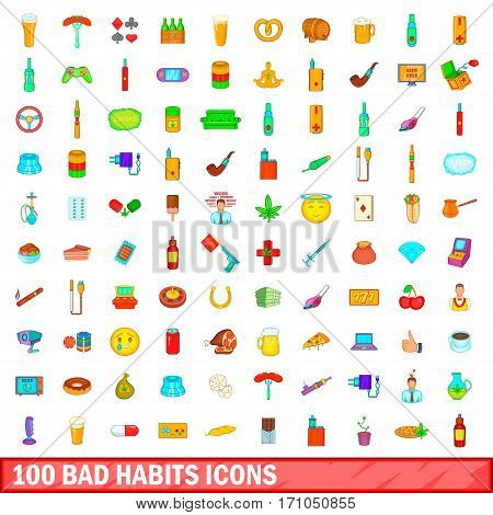 100 bad habits icons set in cartoon style for any design vector illustration