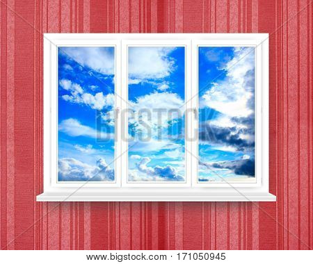 window in the room with view of blue sky. Modern window frame in the room with luxury wallpaper