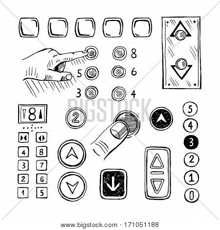Vector sketch pushing elevator buttons and panel  Controls hand-drawn numbers and arrows.
