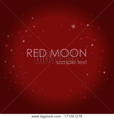 Red moon on the background of the starry sky. Space. Night. Plain text. Vector illustration.