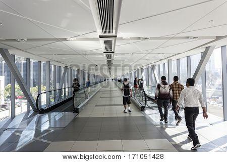 DUBAI UAE - DEC 5 2016: Metro Link overpass gangway to the Dubai Mall. Dubai United Arab Emirates Middle East