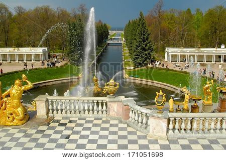 Peterhof, Russia - May 13, 2006: Grand Peterhof Palace, the Grand Cascade and Samson Fountain. Peterhof Palace included in the UNESCO World Heritage List. Saint Petersburg