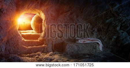 Tomb Empty With Shroud And Crucifixion At Sunrise - Resurrection Of Jesus
