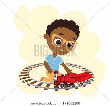 African American boy with glasses and toy train. Boy playing with train. Vector illustration eps 10 isolated on white background. Flat cartoon style