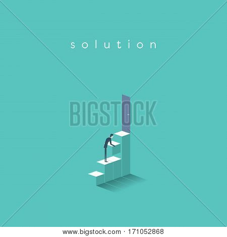 Businessman building steps to door. Symbol of business solution, career, opportunities. Eps10 vector illustration.