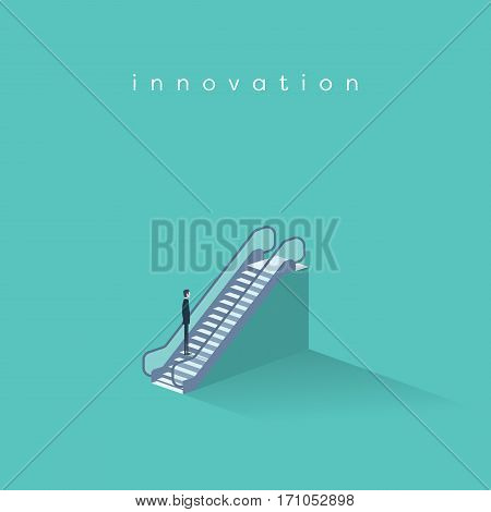 Businessman on an escalator moving up. Symbol of business innovation, technology progress and creativity. Eps10 vector illustration.